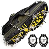 Crampons Ice Cleats for Shoes and Boots Women Men Kids Anti Slip 19 Spikes Stainless Steel Microspikes for Hiking Fishing Wal