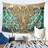 Bohemian Elephant Tapestry - Mandala Boho Vintage Watercolor Yoga Tapestries Wall Hanging Indian Art Home Decoration Bedroom