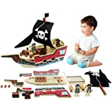 Ealing Wooden Pirate Ship Toy 31pcs Building Playset Model Ships for Kids Creative Building Toys Wood Craft Kits for Children