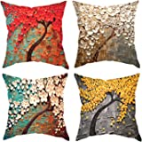 XIECCX Throw Pillow Covers Oil Painting Tree(Non-Stereoscopic) Spring Bright Color Pillowcases 4 Pack-Linen Cotton Cushion fo