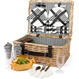 4 Person Picnic Basket, Large Willow Hamper Set with Large Compartment, Handmade Large Wicker Picnic Basket Set with Utensils