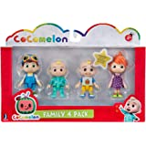 Cocomelon Friends & Family, 4 Figure Pack - 3 Inch Character Toys - Features Two Baby JJ Figures (Tee and Onesie), Tomtom, an