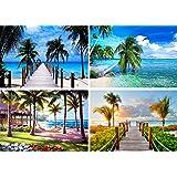 4 Pack 5D Full Drill Diamond Art Painting Dotz DIY Kits Supplies for Adults Kids Beach Sea Holiday Palm Tree Hammock Scenery