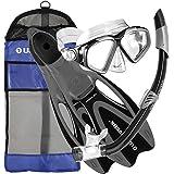 U.S. Divers Cozumel Snorkeling Set. Adult Snorkel Mask, Snorkel, Fins, and Travel Bag