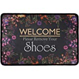 Frestree Non Slip Rubber Backing Doormat Novelty Welcome Please Remove Your Shoes Print Low-Profile Area Rugs for Garden/Kitc