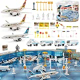Liberty Imports 200 Pieces Deluxe Airport Terminal Kids Toy Airlines Pretend Playset with Airplanes, Vehicles, Figures, and A