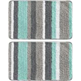 """mDesign Soft Striped Microfiber Non-Slip Spa Mat, 34"""" x 21"""", 2 Pack, Polyester, Mint/Gray, Pack of 2"""