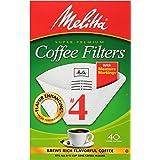Melitta #4 Super Premium Cone Coffee Filters, White, 40 ct