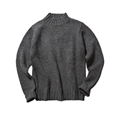 3 Gauge Wool Mock Neck Sweater 51-15-0281-202: Grey