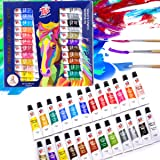 TBC The Best Crafts 24 Colors(9.5ml/Tube) Acrylic Paints for Artists(24 Basic & Metallic Colors), Ideal Acrylic Art Set for C