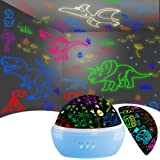 Night Light for Kids, Dinosaur Decor Boys Room,Projection and Night Light Mode 360° Rotation Lamp with 16 Colorful,Toddler Ch