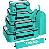 Veken 6 Set Packing Cubes, Travel Luggage Organizers with Laundry Shoe Bag