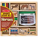 Melissa & Doug Wooden Stamp Activity Set: Horse Stable - 9 Stamps, 5 Colored Pencils, 2-Color Stamp Pad