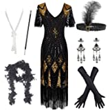 FUNDAISY Women's Flapper Dresses 1920s Vintage Fringed Great Gatsby Dress Accessories Set