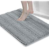 Grandaily Extra Thick Luxury Striped Shaggy Chenille Bathroom Rugs, Fluffy Non-Slip Washable Absorbent Bath Mat for Bathroom,