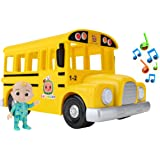 Cocomelon Musical Yellow School Bus, Plays Clip from 'Wheels on The Bus,' Featuring Removable JJ Figure – Character Toys for