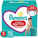 Diapers Size 5, 112 Count - Pampers Pull On Cruisers 360° Fit Disposable Baby Diapers with Stretchy Waistband, ONE MONTH SUPP