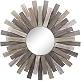 """Stonebriar Large Round 32"""" Wooden Sunburst Hanging Wall Mirror with Attached Hanging Bracket, Decorative Rustic Decor for The"""