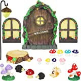 Jetec 21 Pieces Fairy Door and Window, Trees with 2 Window and Light Yard Sculpture Decoration for DIY Micro Landscape Orname