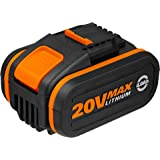 WORX WA3553 Battery Pack 20V 4.0Ah MAX Lithium-ion Battery with Battery Capacity Indicator