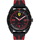 Ferrari Forza, Quartz Plastic and Silicone Strap Casual Watch, Black with Red Detail, Men, 830515