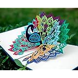 CUTPOPUP Birthday Pop Up Card for Grandma Mom with Stunning Peacock- Charming Design High Handmade Skills- Ideal Gift for Mot
