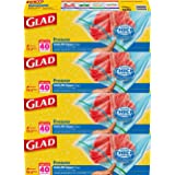 Glad Zipper Food Storage Freezer Bags, gallon, 40ct (Pack of 4)