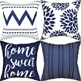 Gusgopo Throw Pillow Covers 18 x 18 Set of 4, Geometry Outdoor Square Pillow Cushion Cases, Modern Decorative Pillow Covers f