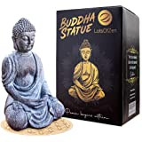 LotsOfZen Buddha Statue Home Decor | Zen Decoration Statues, Outdoor Garden Decoration, Durable Resin Material w/Round Base |