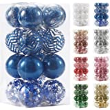 """80mm/3.14"""" Christmas Ornaments, Ball Ornaments for Xmas Tree Decor, Shatterproof Clear Plastic Balls with Stuffed Delicate De"""