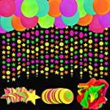 Neon Glow Party Balloons, UV Blacklight Reactive Fluorescent Balloons 30 pcs,12 inch Latex Balloons,45 pcs Neon Round Dot,40