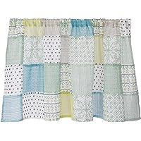 Sunny day fabric カフェカーテン ラッシュ 幅100cm x 丈45cm (グリーンパターン)