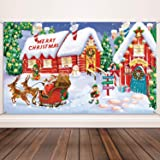 Christmas Decoration Supplies, Extra Large Fabric North Pole Wall Scene Setters for Christmas Decoration, Merry Christmas Ban