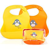 NatureBond Waterproof Silicone Baby Bibs for Babies & Toddlers (2 PCs) | Free Waterproof Pouch | Wipes Clean Easily, Soft, Un