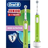 Oral-B Junior Kids Electric Rechargeable Toothbrush for Children Age 6-12, 1 Brush Handle and 1 Sensitive Toothbrush Replacem