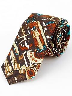 Cotton Print Tie 118-25-0187: Totem Brown