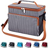 Leakproof Reusable Insulated Cooler Lunch Bag - Office Work School Picnic Hiking Beach Lunch Box Organizer with Adjustable Sh