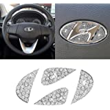Jaronx Compatible with Hyundai Bling Steering Wheel Emblem, Crystal Diamond Bling Car Logo Decal DIY Bling Accessories FOR Hy