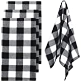 Ruisita 4 Pieces Buffalo Check Plaid Dish Towels Black and White Plaid Dish Towels Kitchen Cotton Dish Towels Tea Towels for
