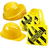 Construction Zone Party Favor Set of 24, 12 Mini Tote Bags, 12 Yellow Hats, for Construction themed party party favors