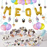 Decorlife Cat Birthday Party Supplies Serves 16, Cute Complete Pack Includes Cat Party Decorations, Banner, Hanging Swirls, T