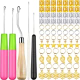 80 Pcs Latch Hook Hair Dreadlocks Beads Tool Kit, Includes 5 Pcs Latch Hook Crochet Needle and 75 Pcs Gold Silver Dreadlock B