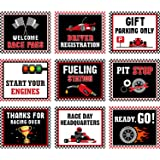Racing Car Party Decorations, 10-11.8 Inch Laminated Racing Signs, Racing Themed Party Signs, Racing Cutouts with 40 Glue Poi