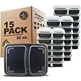 Freshware Meal Prep Containers [15 Pack] 2 Compartment with Lids, Food Containers, Lunch Box | BPA Free | Stackable | Bento B