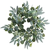 Artificial Green Eucalyptus Wreath,15 inches Greenery Wreath with Clusters of White Flowers Mini Spring/Summer Wreath for Fro