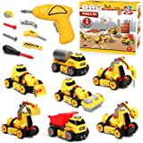 7 in 1 Take Apart Truck Construction Set - STEM Learning Toy w/ Electric Drill, DIY Engineering Building PlaySet w/ Lights, S