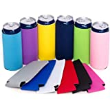 12 Slim Can Coolers, Plain Bulk Collapsible Soda Cover Coolies, DIY Personalized Sublimation Sleeves for Weddings, Bacheloret