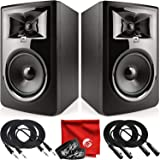 JBL Professional 306P MkII Next-Generation 6-Inch 2-Way Powered Studio Monitor Pair Bundle with 2x Mophead 10-Foot TRS Cable,