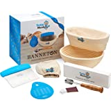Banneton Proofing Basket Set of 2 - Round and Oval Banneton Bread Proofing Baskets for Sourdough Bread - Bread Baking Tools I