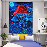 Lyacmy Psychedelic Mushroom Tapestry Trippy Poster Tapestry Colorful Ripple Psychedelic Tapestries Wall Hanging for Room(51.2